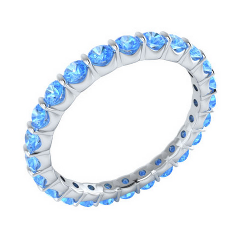 Natural Blue Topaz Eternity Ring 18K Gold