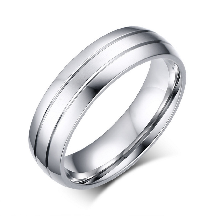 Men's 6mm Width Wedding Band 18K White Gold
