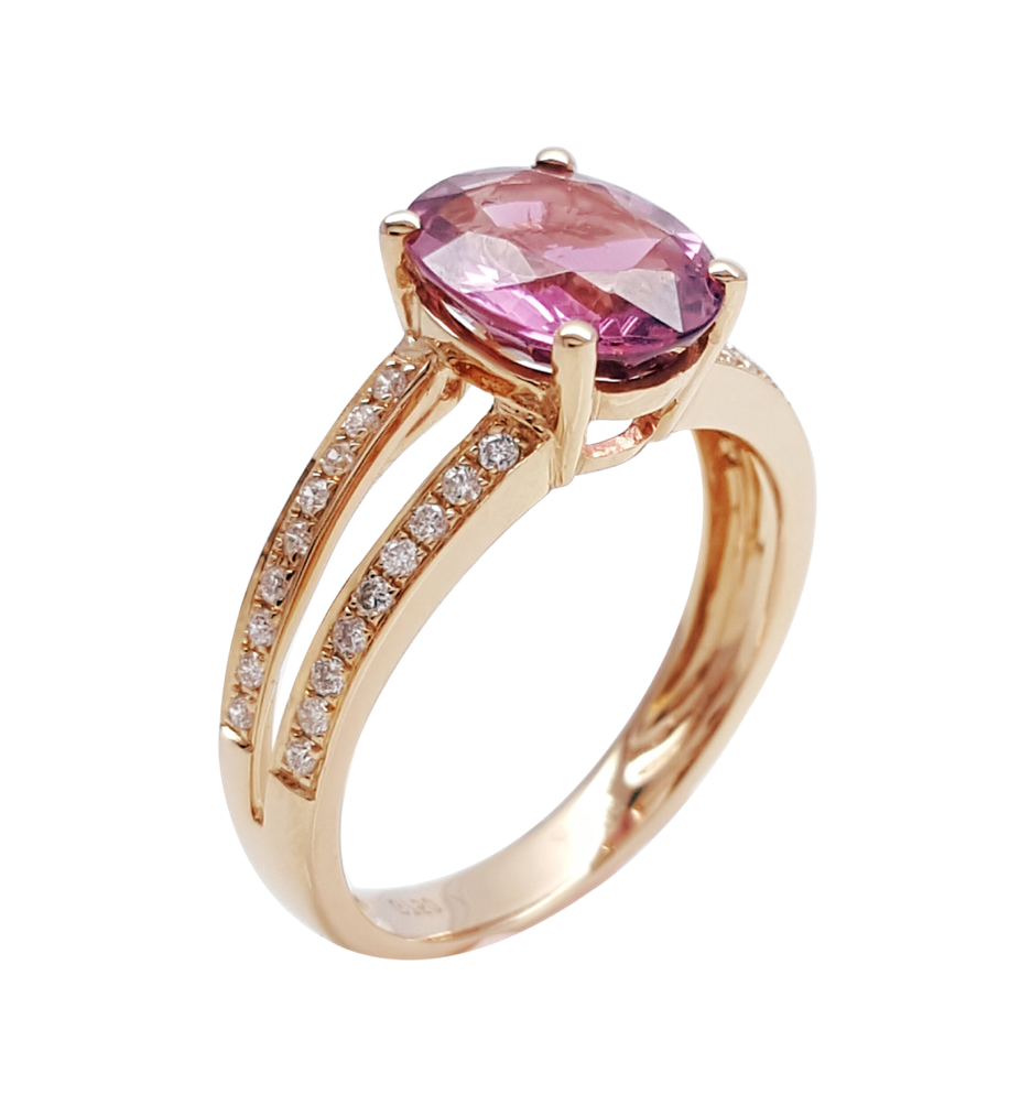 Natural Rubellite Tourmaline Diamond Split Shank Ring 18K Rose Gold