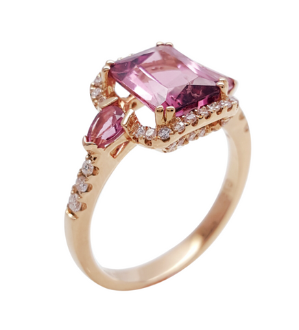 Natural Rubellite Tourmaline Diamond 3 Stone Ring 18K Rose Gold