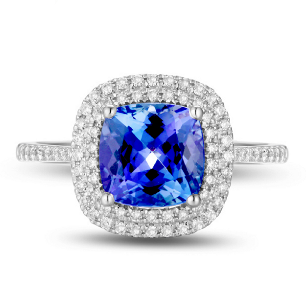Natural Tanzanite Diamond Double Halo Ring 18K Gold