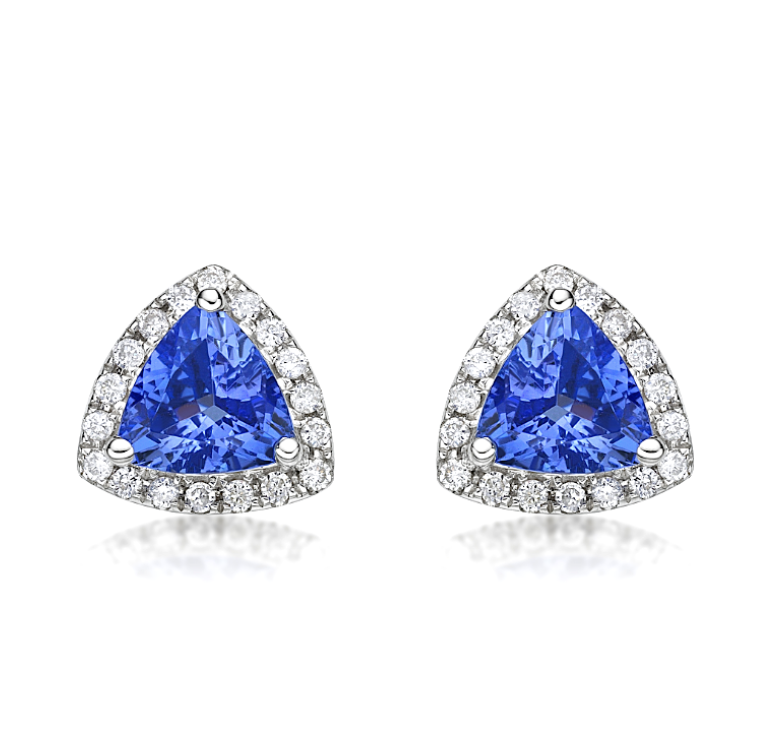Natural Tanzanite Diamond Halo Earrings 18K Gold