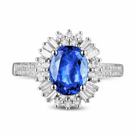 Natural Tanzanite Diamond Halo Ring 18K Gold