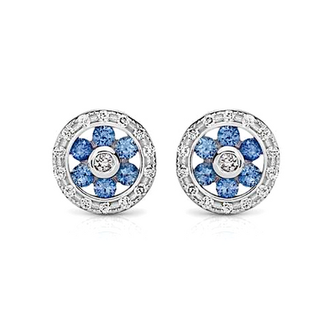 Natural Sapphires Diamond Stud Earrings 18K White Gold