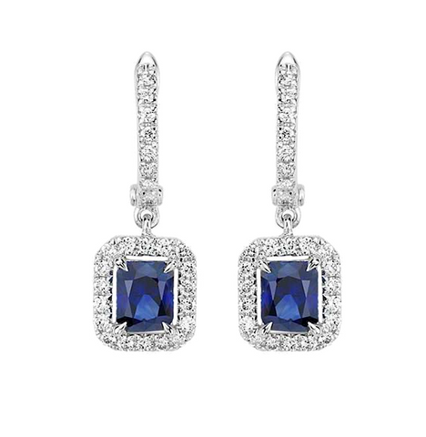 Natural Blue Sapphire Diamond Drop Earrings 18K Gold