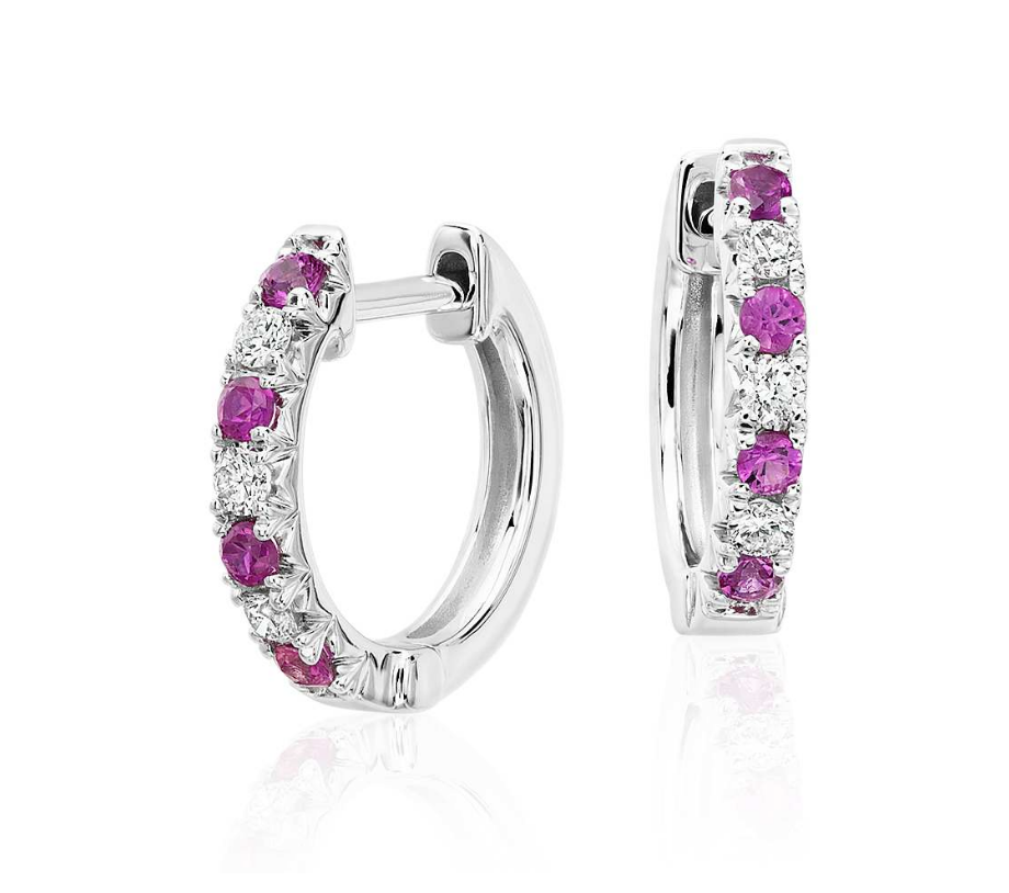 Natural Pink Sapphire Diamond Hoop Earrings 18K Gold