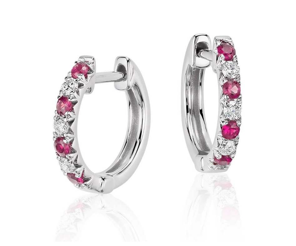 Natural Ruby Diamond Hoop Earrings 18K Gold