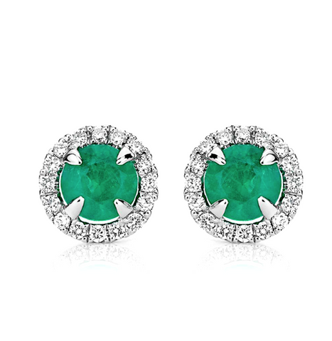 Natural Emerald Diamond Halo Earrings 18K Gold