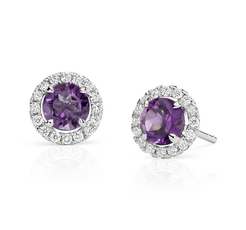 Natural Amethyst Diamond Halo Earrings 18K Gold