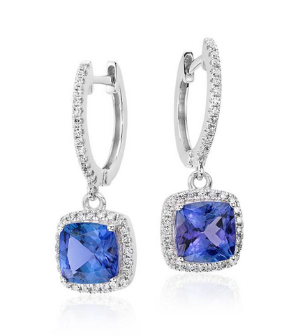 Natural Tanzanite Diamond Drop Earrings 18K Gold