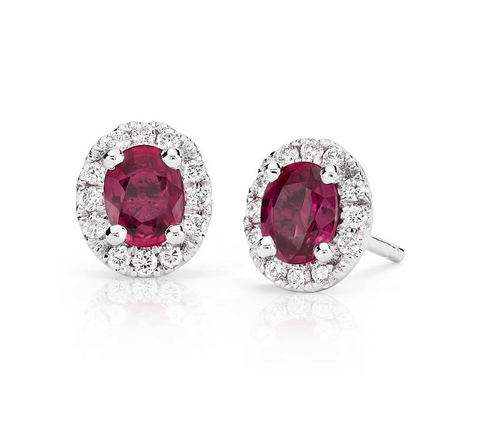 Natural Ruby Diamond Halo Earrings 18K Gold