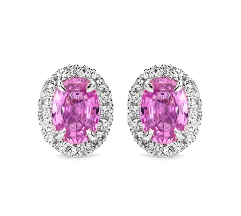 Natural Pink Sapphire Diamond Halo Earrings 18K Gold