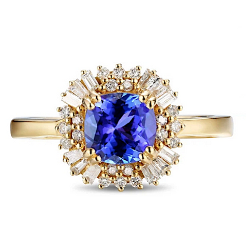 Natural Tanzanite Diamond Ring 18K Gold