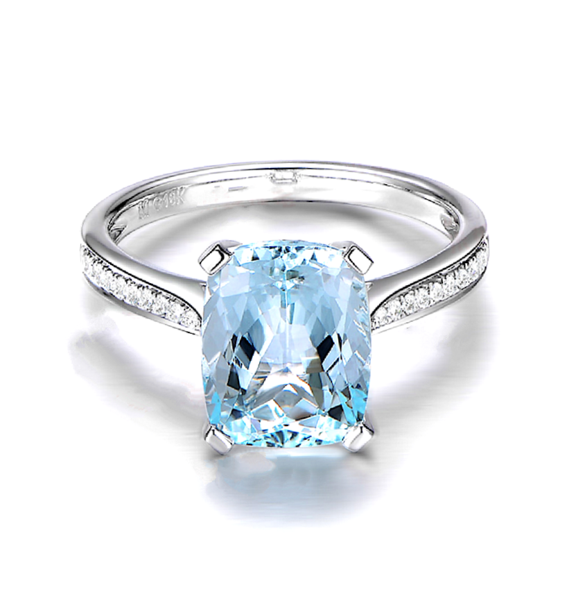 Natural Aquamarine Diamond Ring 18K Gold