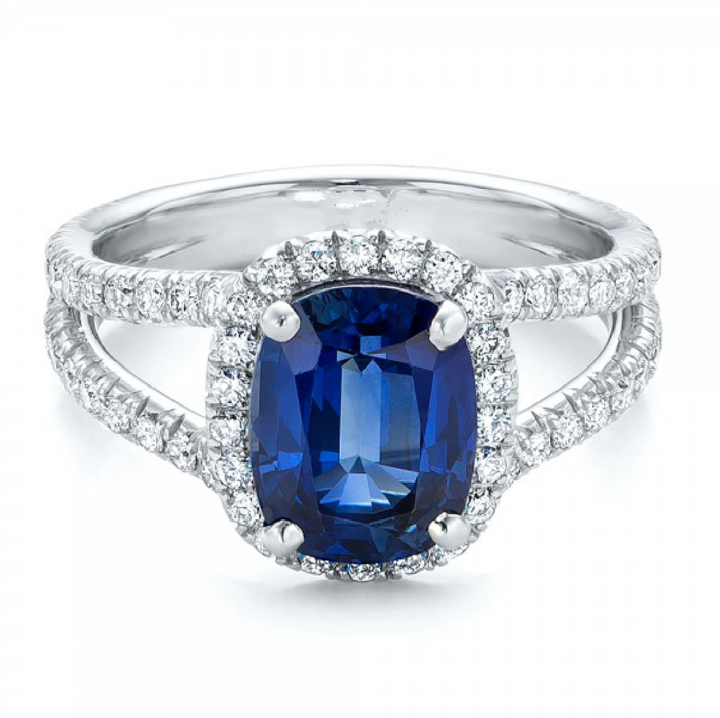 2CT Natural Blue Sapphire Diamond Engagement Ring 18K White Gold