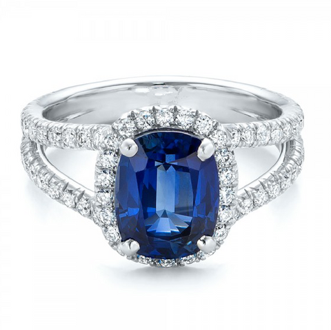 Natural Blue Sapphire Diamond Engagement Ring 18K Gold
