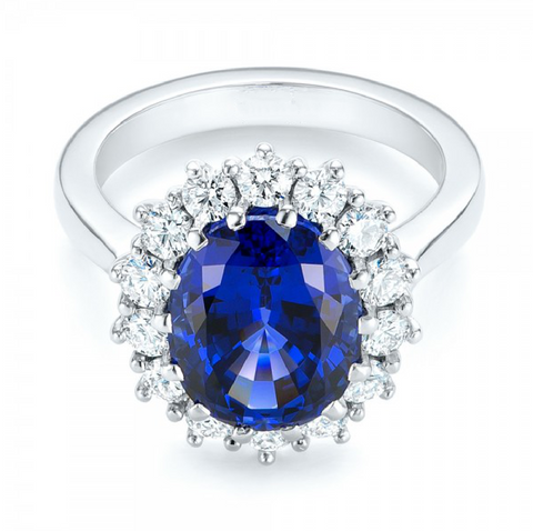 Princess Diana, Kate Middleton Inspired Ceylon Blue Sapphire Diamond Engagement Ring 18K Gold