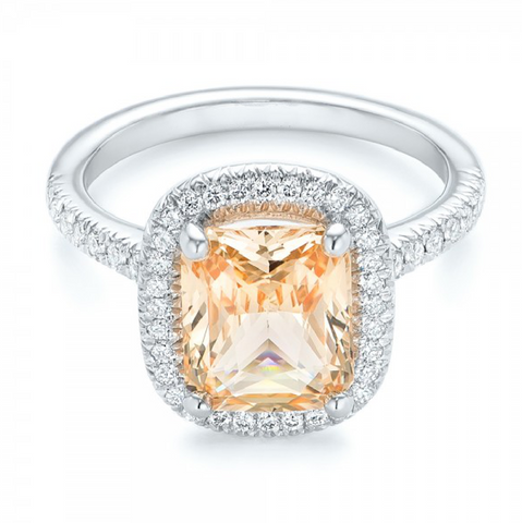 Natural Peach Sapphire Diamond Engagement Ring 18K Gold