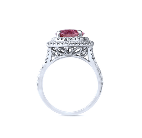 Natural Pink Sapphire Diamond Ring 18K Gold