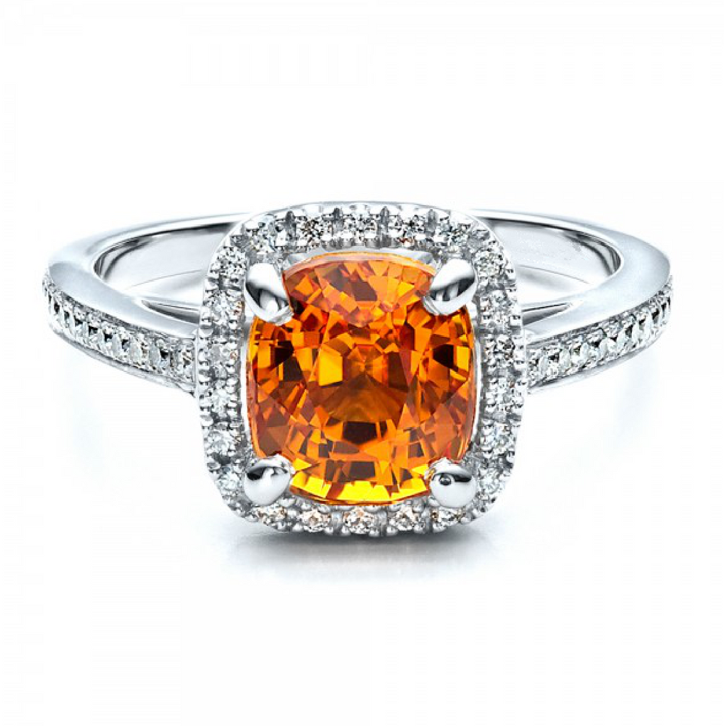 Natural Orange Sapphire Diamond Halo Ring 18K Gold