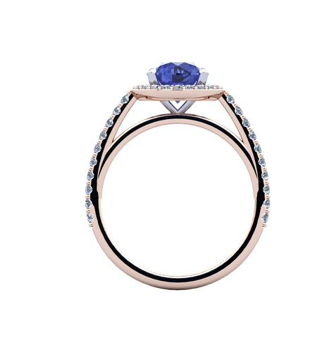 Natural Tanzanite Diamond Ring 18K Rose Gold