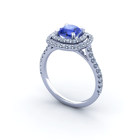 Natural Tanzanite Diamond Ring 18K White Gold