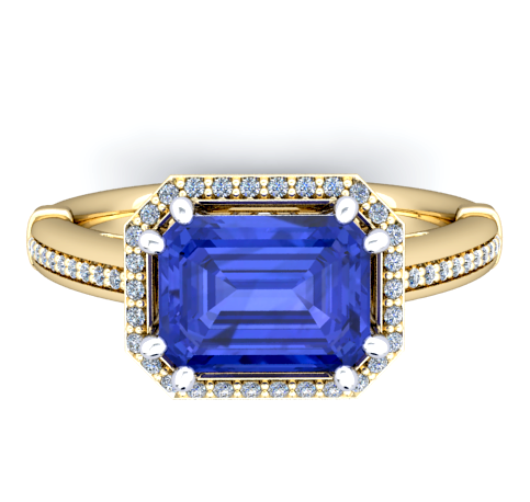 Natural Tanzanite Diamond Ring 18K Yellow Gold
