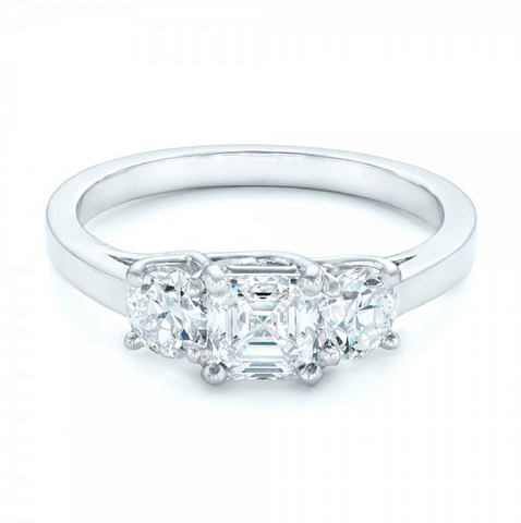 Asscher & Round Cut Diamond Three Stone Ring 18K Gold