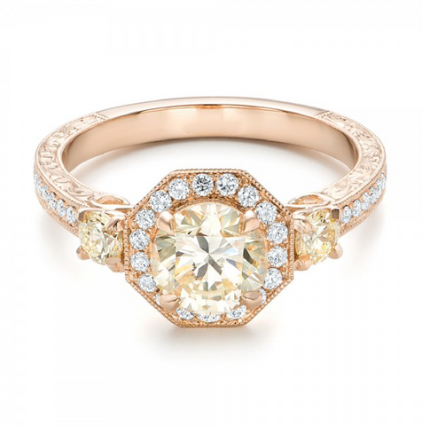 Round Cut Champagne Diamond & Citrine Vintage Ring 18K Gold