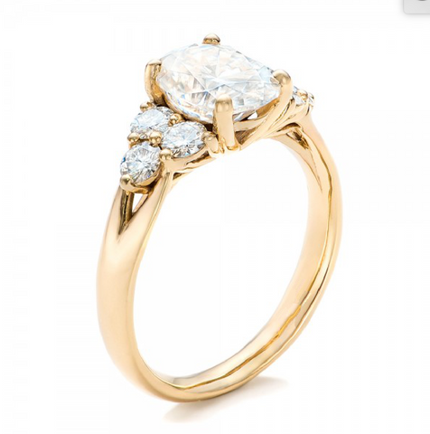 Oval & Round Cut Diamond Three Stone Ring 18K Gold
