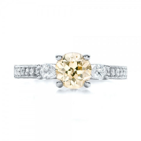 Round Champagne Diamond Vintage Ring 18K Gold