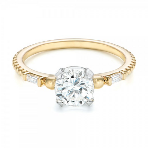 Round & Baguette Diamond Three Stone Ring 18K Gold