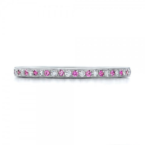 Natural Pink Sapphire Diamond Wedding Band 18K Gold