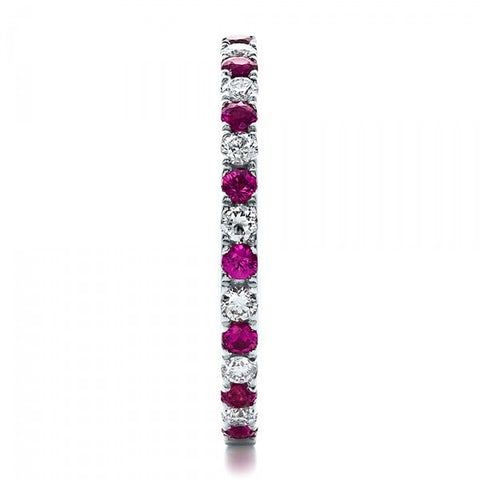 Natural Pink Sapphire & Diamond Eternity Ring 18K Gold