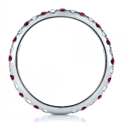 Natural Ruby & Diamond Eternity Ring 18K Gold