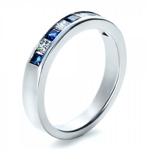 Natural Sapphire & Diamond Wedding Band 18K Gold