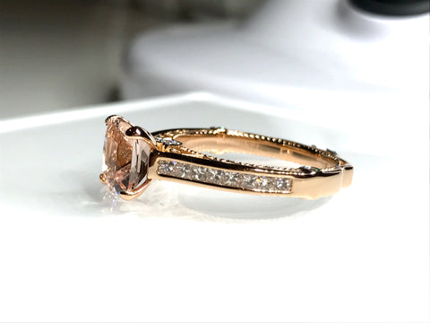 Natural Morganite Custom Engagement Ring 18K Rose Gold