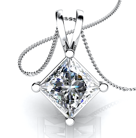 0.50CT Princess Cut Diamond Solitaire Pendant 18K White Gold