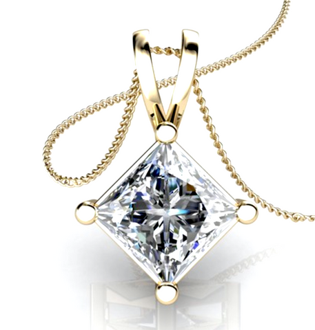 0.50CT Princess Cut Diamond Solitaire Pendant 18K Yellow Gold