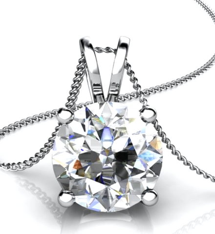 0.50CT Round Cut Diamond Solitaire Pendant 18K White Gold