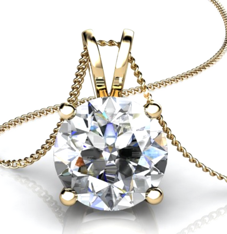 0.50CT Round Cut Diamond Solitaire Pendant 18K Yellow Gold