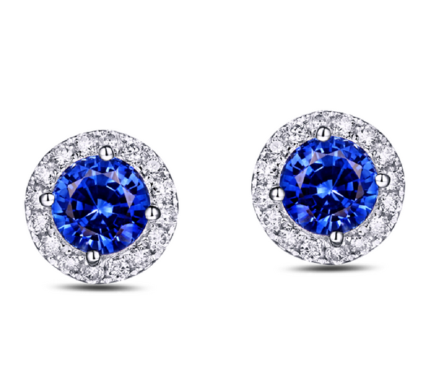 Natural Blue Sapphire Diamond Halo Earrings 18k Gold