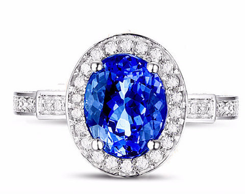 Tanzanite Diamond Ring 18K White Gold