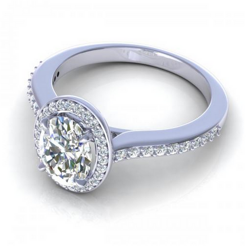Oval and Round Cut Diamond Engagement Ring 18K White Gold