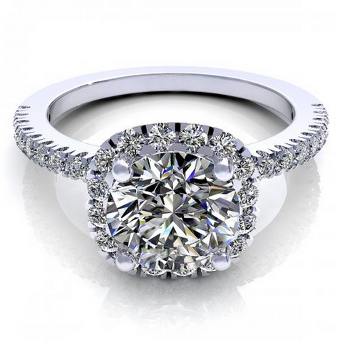 Round Cut Diamonds Engagement Ring 18K White Gold