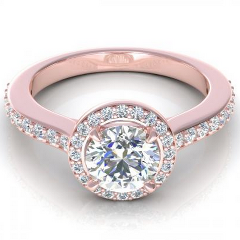 Round Cut Diamond Engagement Ring 18K Rose Gold