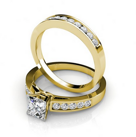 Princess & Round Cut Diamond Bridal Set 18K Gold