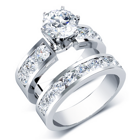 Round Cut Diamonds Bridal Set 18K Gold