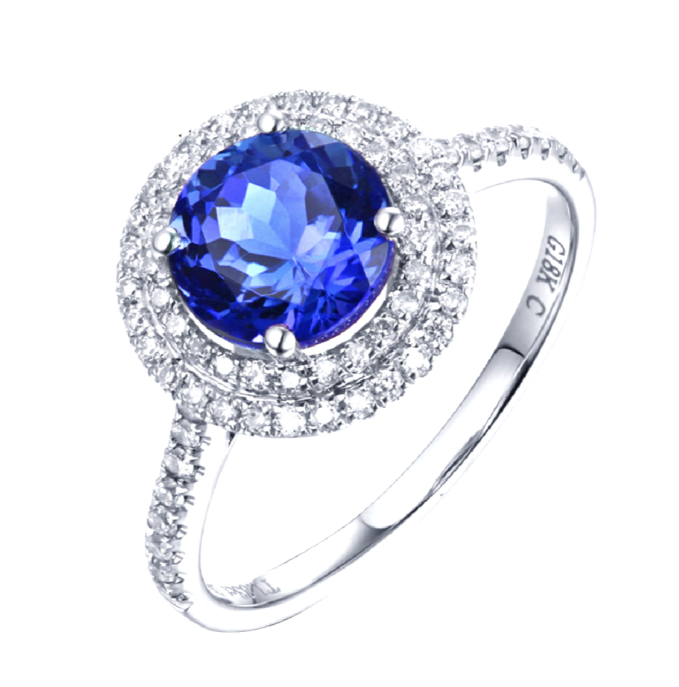 gemstone wedding engagement fullxfull band ring diamond floral deco anniversary blue white il natural rings gold vs tanzanite