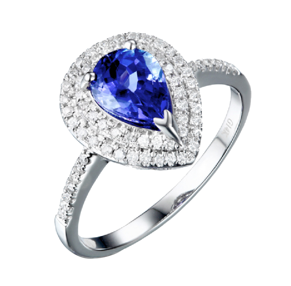 Tanzanite Diamond 18K White Gold Ring